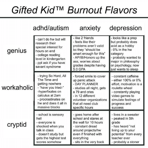 "shocked: Gifted KidTM Burnout Flavors  adhd/autism  anxiety depression  like 2 friends  - feels like their  -looks like a prep  but probably does  acid as a hobby  -0% in the hw  category  probably wanted to  major in philosophy  or psychology, now  just wants to sleep  - can't do hw but will  research their  special interest for  hours on end  -college reading  level in kindergarten  ppl ask if you have  savant syndrome  problems aren't valid  bc they ""should be  smart enough for this""  - AP/IB/Honors up the  ass, worries about  grades despite having  5.0 GPA  genius  trying So Hard, All  The Time and  - forced smile to cover  - constant caffeine  - either 100% or 0%  effort, motivation is a  up panic attack  - DAY PLANNER  - studies all night, gets  getting nowhere  workaholichave you tried  roulette wheel  hyperfixates on  calculus at 2am  - constantly playing  video games to  simulate feelings of  progress and  a 79 and cries  - in 12 different  volunteer organizations  procrastinates on  hw and does it all in  that all need club  massive blocks  specific hours  success  school is sensory  -goes home after  school and stares at  the wall for 10 hours  - lives in a sweater  peaked in 5th  grade  -has heard ""not  hell  everyone is  shocked when you  talk in class  сryptid  -constant dread  living up to your  potential"" from every  teacher ever  around projects/hw  even if finished with  -doesn't study but  gets the highest test  everything  - sits in the very back  probably a stoner  Scores somehow"