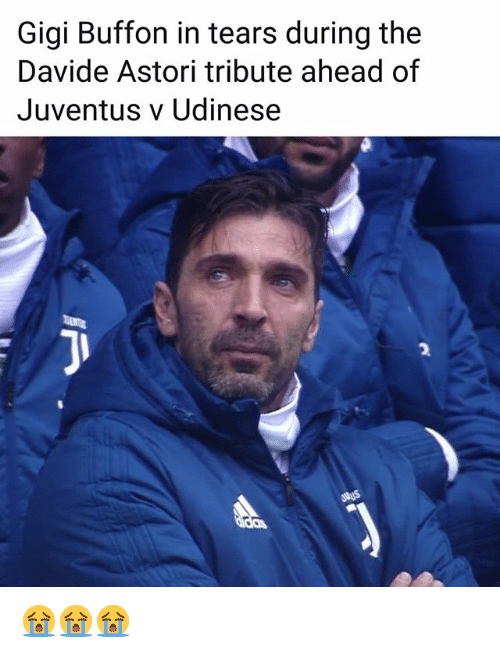 buffon: Gigi Buffon in tears during the  Davide Astori tribute ahead of  Juventus v Udinese  2 😭😭😭