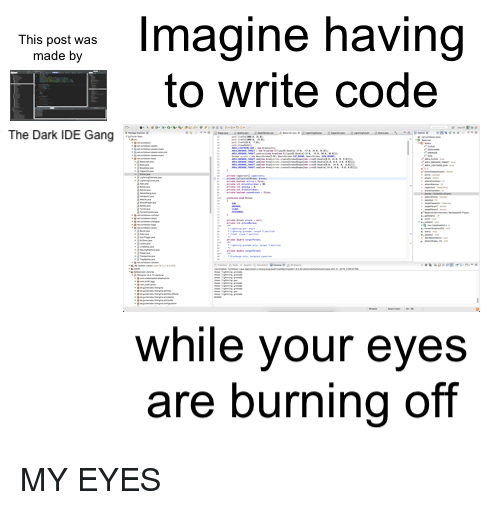 Gang, Dark, and Code: gine having  to write code  This post was  made by  The Dark IDE Gang  while your eyes  are burning off MY EYES