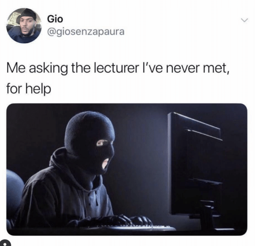Help, Never, and Asking: Gio  @giosenzapaura  Me asking the lecturer I've never met,  for help