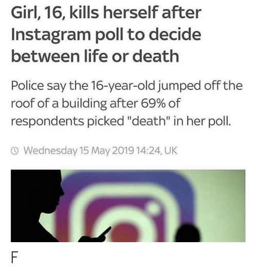 "Instagram, Life, and Police: Girl, 16, kills herself after  Instagram poll to decide  between life or death  Police say the 16-year-old jumped offthe  roof of a building after 69% of  respondents picked ""death"" in her poll  O Wednesday 15 May 2019 14:24, UK F"
