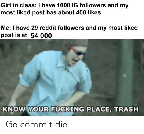 Likes Me: Girl in class: I have 1000 IG followers and my  most liked post has about 400 likes  Me: I have 29 reddit followers and my most liked  post is at 54 000  KNOW YOUR FUCKING PLACE, TRASH Go commit die