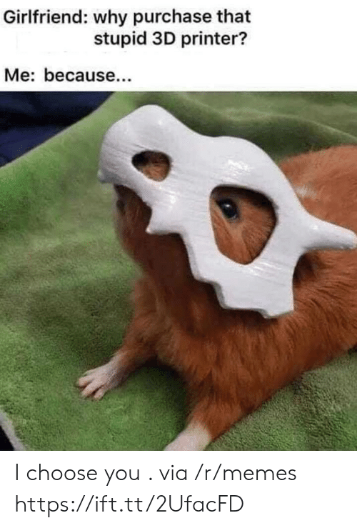 Memes, Girlfriend, and 3d Printer: Girlfriend: why purchase that  stupid 3D printer?  Me: because I choose you . via /r/memes https://ift.tt/2UfacFD