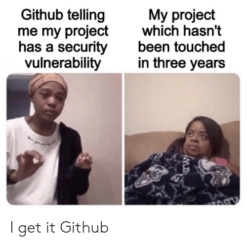 Been, Github, and Project: Github telling  me my project  has a security  vulnerability  My project  which hasn't  been touched  in three years I get it Github