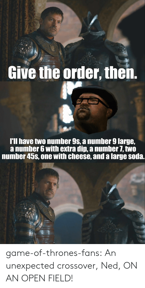 Number 9: Give the order, then.  I'll have two number 9s, a number 9 large,  a number 6 with extra din, a numher 7, two  number 45s, one with cheese, and a large soda. game-of-thrones-fans:  An unexpected crossover, Ned, ON AN OPEN FIELD!