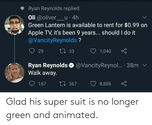 Animated: Glad his super suit is no longer green and animated.