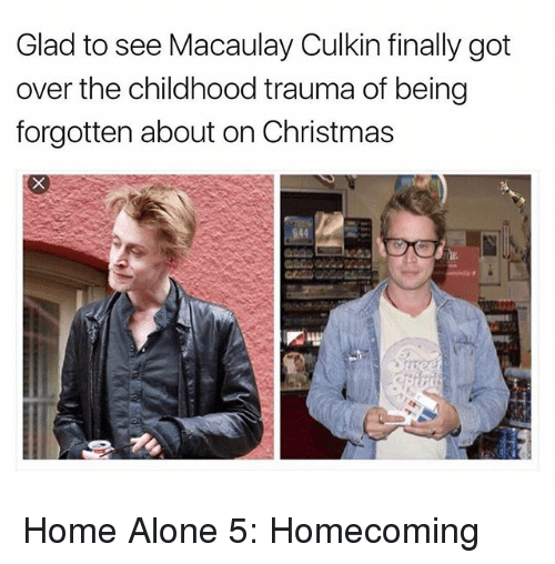 Macaulay Culkin: Glad to see Macaulay Culkin finally got  over the childhood trauma of being  forgotten about on Christmas  644 Home Alone 5: Homecoming