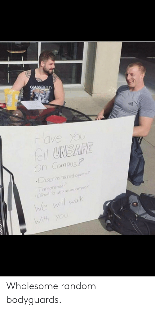 Threatened: GLASSOOLD  Have You  felt UNSAFE  On Campus?  Discriminated agans  Threatened  Cfrad to walk ard.compus  We wll walk  With You Wholesome random bodyguards.