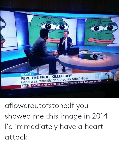 Globalism: GLOBAL  PEPE THE FROG 'KILLED OFF  Pepe was recently depicted as Adolf Hitler  BE WORLD NEWS :R REJECTS THIRD PPG TAKEOVER BID  PRIV  . afloweroutofstone:If you showed me this image in 2014 I'd immediately have a heart attack