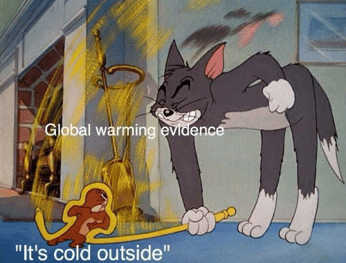"evidence: Global warming evidence  ""It's cold outside"""