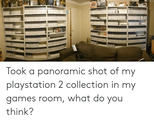 PlayStation, Game, and Games: GLOVE  160  PlayStation  DOSHOCK  PS3  SPACEMANINE  METAIL GEAR SOLID  WAR NORTH  ARAYMAN PT STYZ  KEEP  GAME  WOR Took a panoramic shot of my playstation 2 collection in my games room, what do you think?