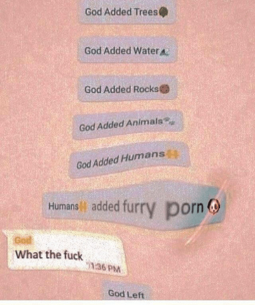 Animals, God, and Fuck: God Added Trees  God Added Water  God Added Rocks  God Added Animals  God Added Humans  Humans added furry porn  God  What the fuck  36 PM  God Left