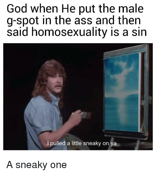 Ass, God, and Homosexuality: God when He put the male  g-spot in the ass and then  said homosexuality is a sin  I pulled a little sneaky on  ya A sneaky one