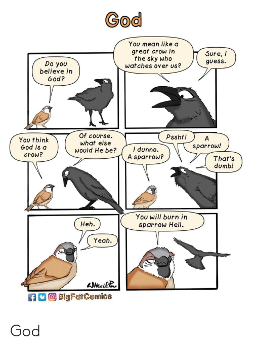 Thats Dumb: God  You mean like a  great crow in  the sky who  wat ches over us?  Sure, /  guess.  Do you  believe in  God?  Of course.  What else  would He be?  Pssht!  You think  God is d  crow?  sparrow!  I dunno.  A sparrow?  That's  dumb!  You will burn irn  sparrow Hell.  Heh.  Yeah  BlgFarComics God