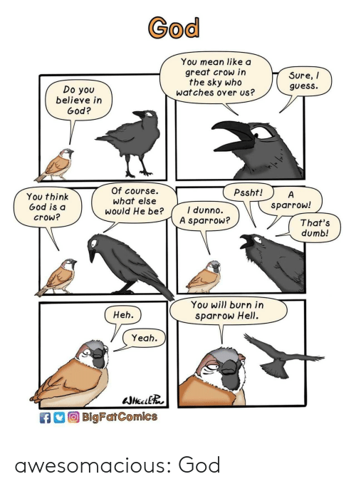 Thats Dumb: God  You mean like a  great crow in  the sky who  wat ches over us?  Sure, /  guess.  Do you  believe in  God?  Of course.  What else  would He be?  Pssht!  You think  God is d  crow?  sparrow!  I dunno.  A sparrow?  That's  dumb!  You will burn irn  sparrow Hell.  Heh.  Yeah  BlgFarComics awesomacious:  God