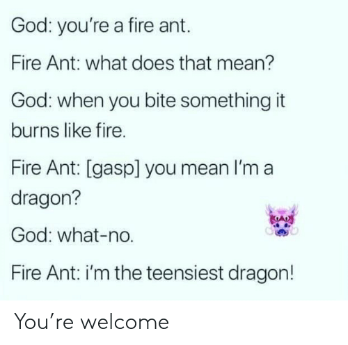 What Does: God: you're a fire ant.  Fire Ant: what does that mean?  God: when you bite something it  burns like fire.  Fire Ant: [gasp] you mean I'm a  dragon?  God: what-no.  Fire Ant: i'm the teensiest dragon! You're welcome