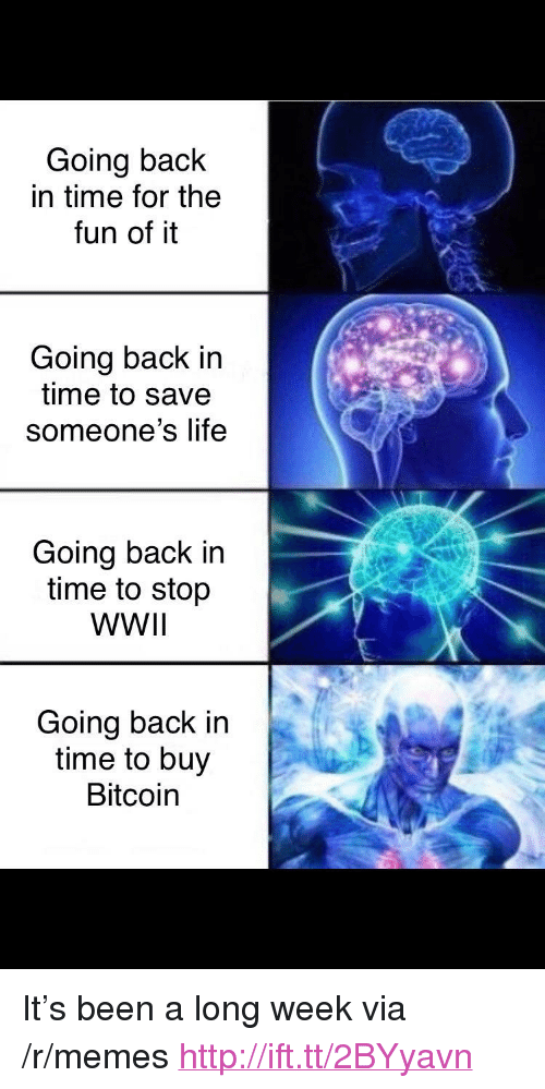 """Long Week: Going back  in time for the  fun of it  Going back in  time to save  someone's life  Going back in  time to stop  WWIl  Going back in  time to buy  Bitcoin <p>It's been a long week via /r/memes <a href=""""http://ift.tt/2BYyavn"""">http://ift.tt/2BYyavn</a></p>"""