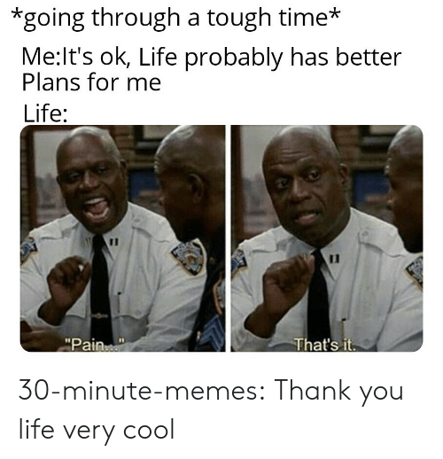 """that's it: *going through a tough time*  Me:It's ok, Life probably has better  Plans for me  Life:  11  That's it  """"Pain 30-minute-memes:  Thank you life very cool"""