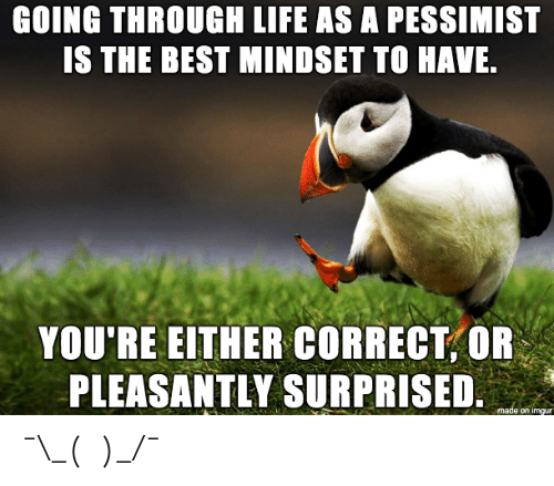 pessimist: GOING THROUGH LIFE AS A PESSIMIST  IS THE BEST MINDSET TO HAVE  YOU'RE EITHER CORRECT,OR  PLEASANTLY SURPRISED  e on imgur ¯\_(ツ)_/¯
