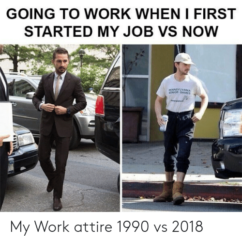 going to work: GOING TO WORK WHEN I FIRST  STARTED MY JOB VS NOW  NNSYLVANIA  SENIOR GAMES My Work attire 1990 vs 2018