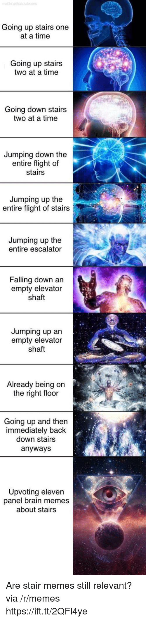 jumping up: Going up stairs one  at a time  Going up stairs  two at a time  Going down stairs  two at a time  Jumping down the  entire flight of  stairs  Jumping up the  entire flight of stairs  Jumping up the  entire escalator  Falling down an  empty elevator  shaft  Jumping up an  empty elevator  shaft  Already being on  the right floor  Going up and then  immediately back  down stairs  anyways  Upvoting eleven  panel brain memes  about stairs Are stair memes still relevant? via /r/memes https://ift.tt/2QFl4ye