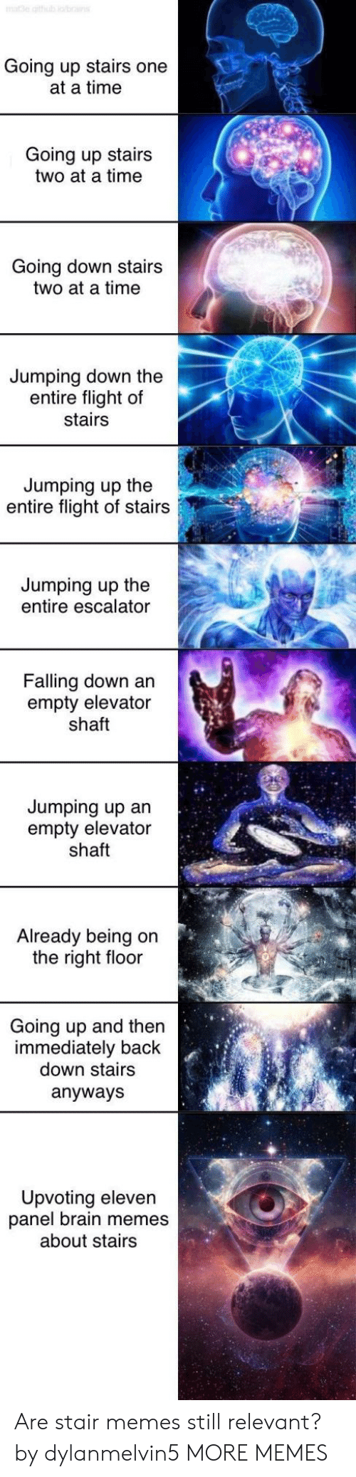 jumping up: Going up stairs one  at a time  Going up stairs  two at a time  Going down stairs  two at a time  Jumping down the  entire flight of  stairs  Jumping up the  entire flight of stairs  Jumping up the  entire escalator  Falling down an  empty elevator  shaft  Jumping up an  empty elevator  shaft  Already being on  the right floor  Going up and then  immediately back  down stairs  anyways  Upvoting eleven  panel brain memes  about stairs Are stair memes still relevant? by dylanmelvin5 MORE MEMES