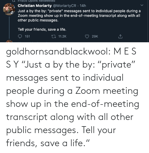 "the end: goldhornsandblackwool:  M E S S Y ""Just a by the by: ""private"" messages sent to individual people during a Zoom meeting show up in the end-of-meeting transcript along with all other public messages.  Tell your friends, save a life."""