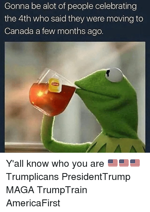Moving To Canada: Gonna be alot of people celebrating  the 4th who said they were moving to  Canada a few months ago Y'all know who you are 🇺🇸🇺🇸🇺🇸 Trumplicans PresidentTrump MAGA TrumpTrain AmericaFirst