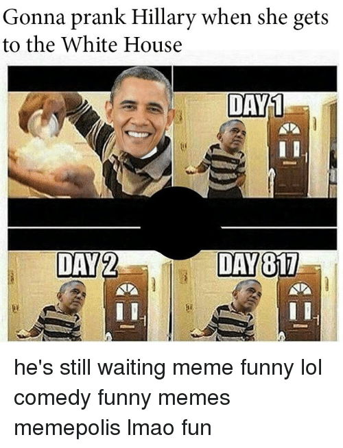 Still Waiting Meme: Gonna prank Hillary when she gets  to the White House  DAY 1  DAY  2  DAY  817 he's still waiting meme funny lol comedy funny memes memepolis lmao fun