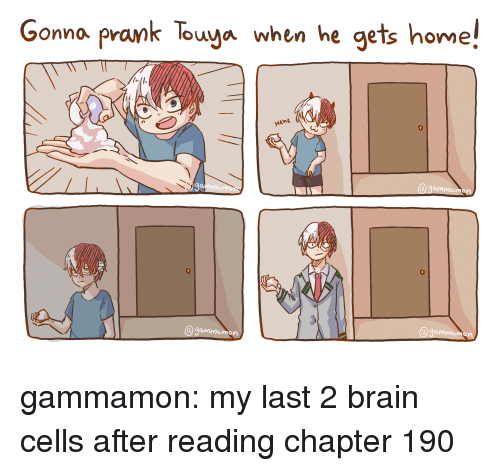 Prank, Tumblr, and Blog: Gonno prank Touya when he gets home!  Hum gammamon:  my last 2 brain cells after reading chapter 190