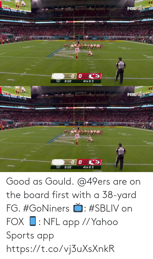 yard: Good as Gould.  @49ers are on the board first with a 38-yard FG. #GoNiners  📺: #SBLIV on FOX 📱: NFL app // Yahoo Sports app https://t.co/vj3uXsXnkR