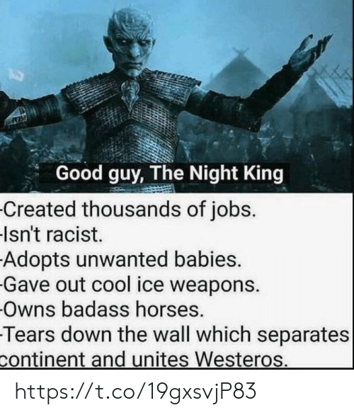 Horses, Cool, and Good: Good guy, The Night King  Created thousands of jobs.  Isn't racist.  Adopts unwanted babies.  Gave out cool ice weapons.  Owns badass horses.  Tears down the wall which separates  continent and unites Westeros. https://t.co/19gxsvjP83