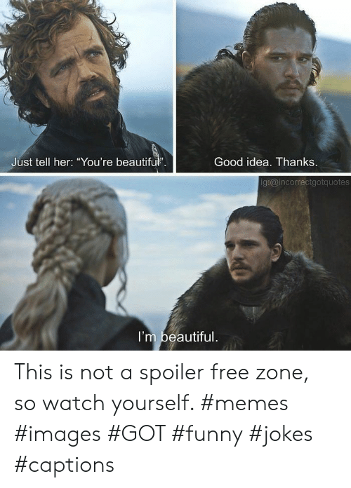 "funny jokes: Good idea. Thanks  Just tell her: ""You're beautifu.  g:@incorrectgotquotes  I'm beautiful This is not a spoiler free zone, so watch yourself. #memes #images #GOT #funny #jokes #captions"