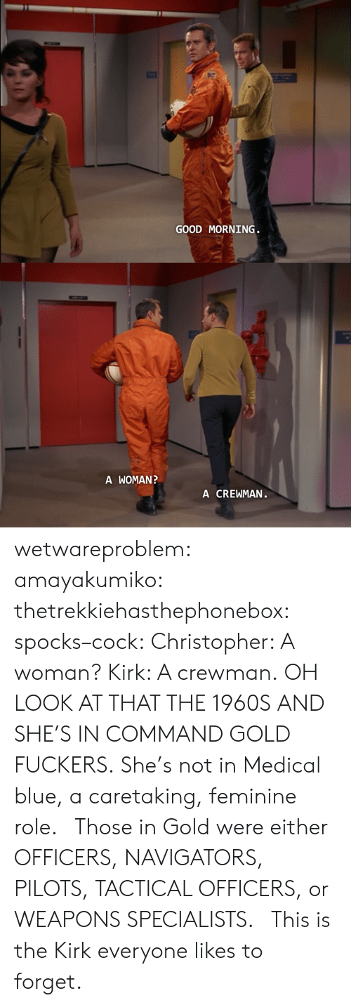 Target, Tumblr, and Good Morning: GOOD MORNING   A WOMAN  A CREWMAN wetwareproblem:  amayakumiko:  thetrekkiehasthephonebox:  spocks–cock:  Christopher: A woman? Kirk: A crewman.  OH LOOK AT THAT THE 1960S  AND SHE'S IN COMMAND GOLD FUCKERS. She's not in Medical blue, a caretaking, feminine role.   Those in Gold were either OFFICERS, NAVIGATORS, PILOTS, TACTICAL OFFICERS, or WEAPONS SPECIALISTS.    This is the Kirk everyone likes to forget.