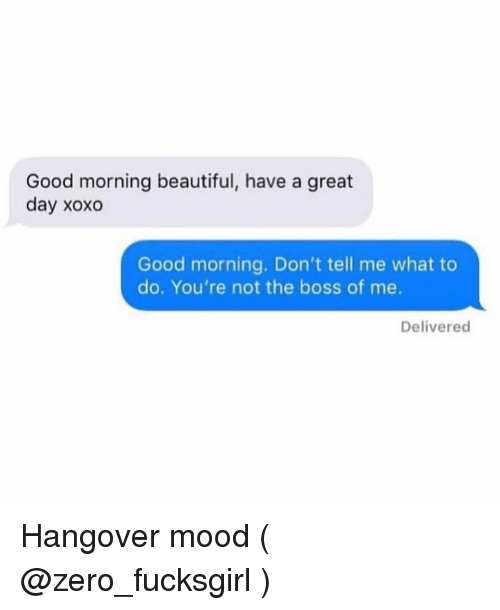 Beautiful, Mood, and Zero: Good morning beautiful, have a great  day xoxo  Good morning. Don't tell me what to  do. You're not the boss of me.  Delivered Hangover mood ( @zero_fucksgirl )
