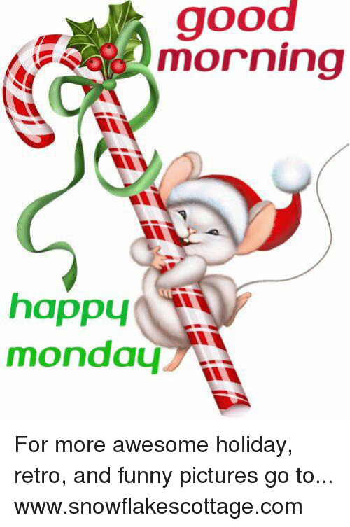 Funnies Pictures: good  morning  happy  monday For more awesome holiday, retro, and funny pictures go to... www.snowflakescottage.com