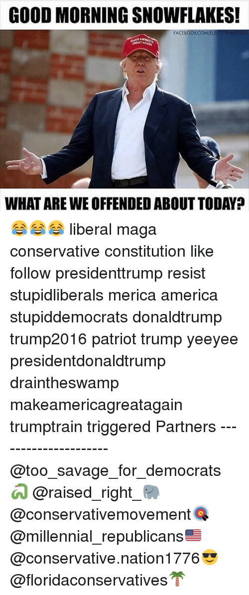 creat: GOOD MORNING SNOWFLAKES!  FA  CREAT  WHAT ARE WE OFFENDED ABOUT TODAY? 😂😂😂 liberal maga conservative constitution like follow presidenttrump resist stupidliberals merica america stupiddemocrats donaldtrump trump2016 patriot trump yeeyee presidentdonaldtrump draintheswamp makeamericagreatagain trumptrain triggered Partners --------------------- @too_savage_for_democrats🐍 @raised_right_🐘 @conservativemovement🎯 @millennial_republicans🇺🇸 @conservative.nation1776😎 @floridaconservatives🌴
