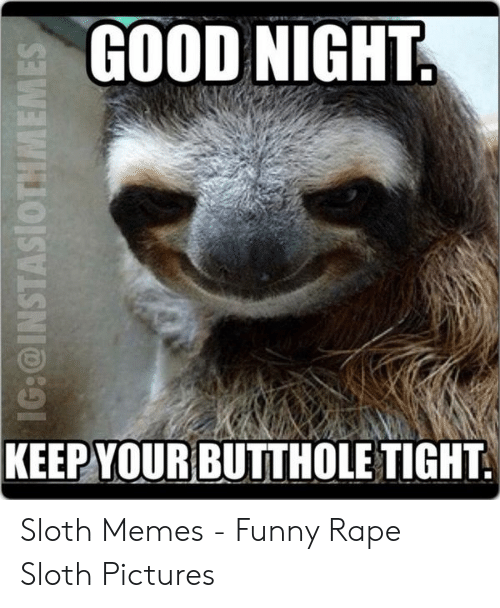 Funny Perverted Memes: GOOD NIGHT  KEEP YOUR  BUTTHOLE TIGHT Sloth Memes - Funny Rape Sloth Pictures