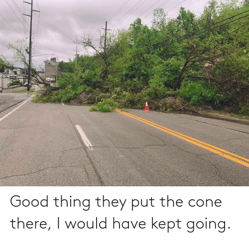 i would: Good thing they put the cone there, I would have kept going.