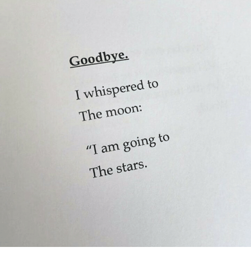 """Moon, Stars, and The Moon: Goodbye,  I whispered to  The moon:  """"I am going to  The stars."""