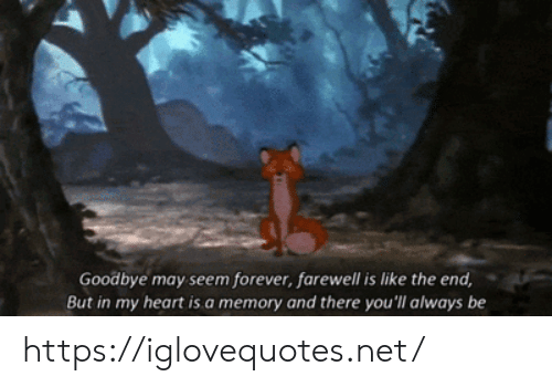 Forever, Heart, and Net: Goodbye may seem forever, farewell is like the end,  But in my heart is.a memory and there you'll always be https://iglovequotes.net/