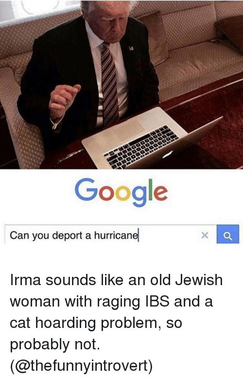 "Google, Memes, and Hurricane: Google  -""  Can you deport a hurricane Irma sounds like an old Jewish woman with raging IBS and a cat hoarding problem, so probably not. (@thefunnyintrovert)"