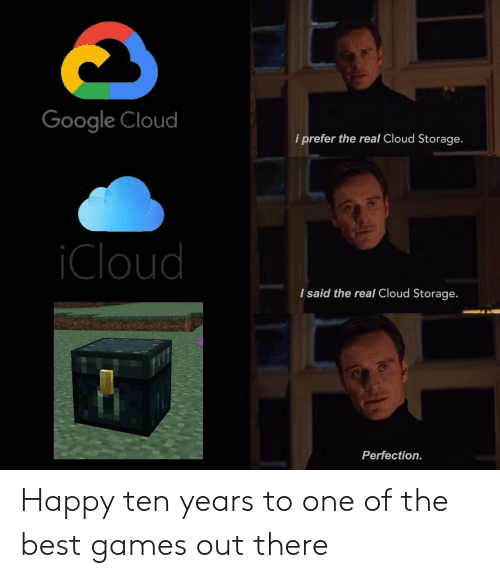The Best Games: Google Cloud  i prefer the real Cloud Storage.  Cloud  I said the real Cloud Storage.  Perfection. Happy ten years to one of the best games out there
