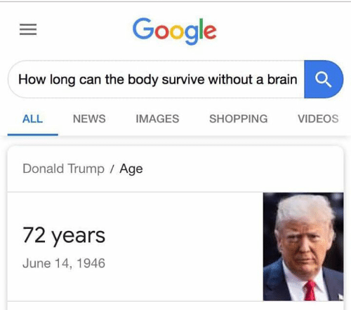Donald Trump, Google, and Memes: Google  How long can the body survive without a brainC  ALL NEWS IMAGES SHOPPING VIDEOS  Donald Trump Age  72 years  June 14, 1946