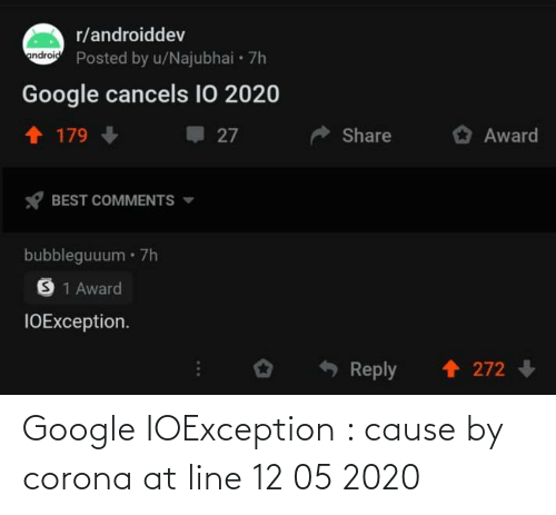 Google: Google IOException : cause by corona at line 12 05 2020