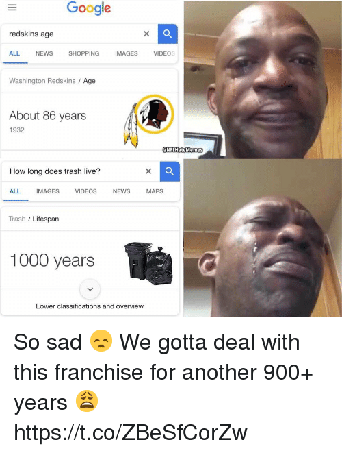 washington redskins: Google  redskins age  Q.  ALL  NEWS  SHOPPING  MAGESVIDEOS  Washington Redskins / Age  About 86 years  1932  @NFLHateMemes  How long does trash live?  ALL IMAGES VIDEOS NEWS MAPS  Trash / Lifespan  1000 years  Lower classifications and overview So sad 😞 We gotta deal with this franchise for another 900+ years 😩 https://t.co/ZBeSfCorZw