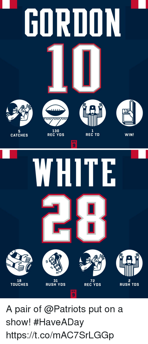 Memes, Patriotic, and Rush: GORDON  10  5  CATCHES  130  REC YDS  REC TD  WIN!  WK  9   WHITE  18  TOUCHES  31  RUSH YDS  72  REC YDS  2  RUSH TDS  WK A pair of @Patriots put on a show! #HaveADay https://t.co/mAC7SrLGGp