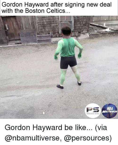 Gordon Hayward: Gordon Hayward after signing new deal  with the Boston Celtics.  PS  ABA  MUL TIVERSE Gordon Hayward be like... (via @nbamultiverse, @persources)