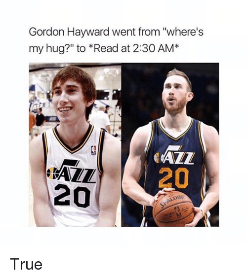 "Gordon Hayward, Memes, and True: Gordon Hayward went from ""where's  my hug?"" to *Read at 2:30 AM*  RAZL  20  ALL  20 True"