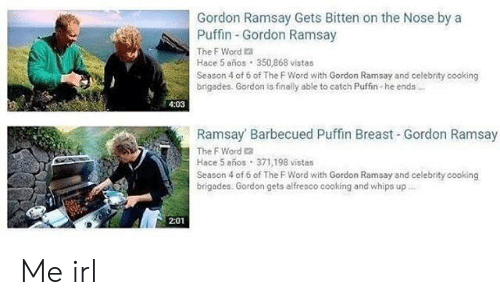 whips: Gordon Ramsay Gets Bitten on the Nose by a  Puffin Gordon Ramsay  The F Word a  Hace 5 años 350,868 vistas  Season 4 of 6 of The F Word with Gordon Ramsay and celebrity cooking  brigades. Gordon is finally able to catch Puffin-he ends  4:03  Ramsay Barbecued Puffin Breast Gordon Ramsay  The F Word 2  Hace 5 años 371,198 vistas  Season 4 of 6 of The F Word with Gordon Ramsay and celebrity cooking  brigades. Gordon gets alfresco cooking and whips up  2:01 Me irl
